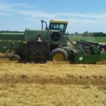 John Deere 4420 harvesting breeder plots